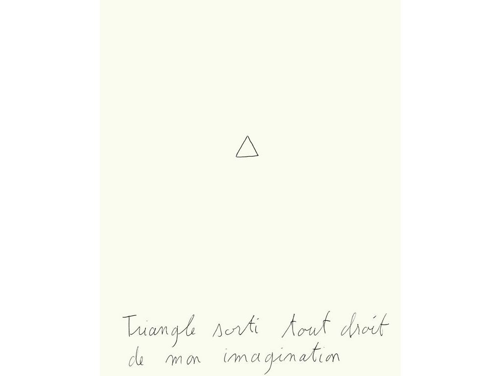 Claude Closky, 'Triangle sorti tout droit de mon imagination [Triangle straight out of my imagination]', 1996, black ballpoint pen on paper, 30 x 24 cm.